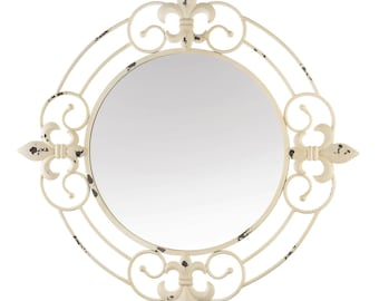 Antique White Fleur-De-Lis Wall Mirror - Wall Mirror - Accent Mirror - Home Decor - Mirrors - Round Mirror -  Mirror - Wall Accent