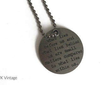 Token Quote Necklace - Round Necklace Pendant - Word Necklace - Stamped Pendant Necklace