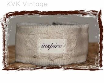 Fabric Cuff Bracelet - INSPIRE - Boho Jewelry - Boho Bracelet - Hippie Jewelry - Fabric Bracelet - Inspiring Bracelet