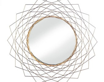 Geometric Gold Wall Mirror - Wall Mirror - Accent Mirror - Home Decor - Mirrors - Round Mirror -  Mirror - Wall Accent - Geometric Mirror