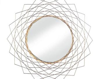 Geometric Gold Wall Mirror - Wall Mirror - Accent Mirror - Home Decor - Mirrors - Round Mirror -  Mirror - Wall Accent - Geometric Mirror