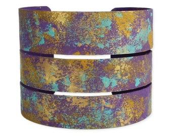 Purple & Teal Splatter Paint Cuff Bracelet - Cuff Bracelet -  Boho Bracelet - Metal Bracelet - Artisan Bracelet
