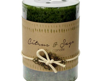 Citrus & Sage Pillar Candle -  Candle - Scented Candle - Pillar Candle - Citrus Pillar Candle - Sage Pillar Candle