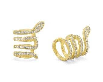 14 Karat Snake Ear Cuffs with Signity CZs - Earrings - Cuff Earrings - Wrap Earrings - Ear Cuffs - Body Jewelry - Sterling Cuff Earrings