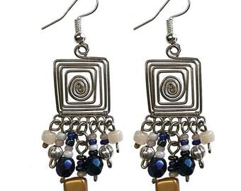 Square Wire Helix Earrings - Earrings - Bohemian Earrings - Boho Earrings - Dangle Earrings - Fair Trade