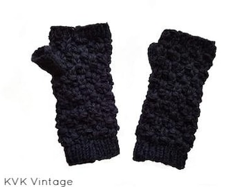 Black Textured Wool Knit Hand-warmers - Hand-warmers - Finger-less Gloves - Knit Gloves -  Wool Gloves - Wool Mittens - Fall Hand-warmers