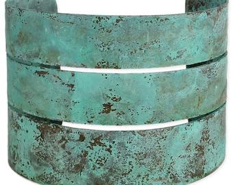 Turquoise Patina Wide Cuff Bracelet - Cuff Bracelet -  Boho Bracelet - Metal Bracelet - Artisan Bracelet - Turquoise Bracelet - Wide Cuff