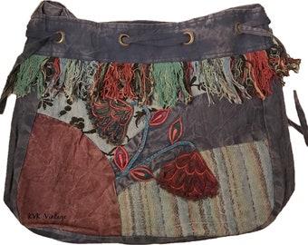 Floral Hobo Drawstring Bag - Hobo Bags - Fair Trade - Bohemian Shoulder Bag