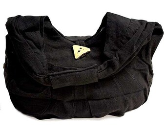 Black Cotton Hobo Bag - Hobo Bags - Fair Trade - Bohemian Shoulder Bag - Handbags