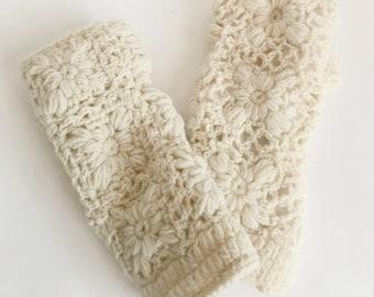 Off White Wool Knit Handwarmers - Fair Trade - Arm Warmers - Fingerless Gloves