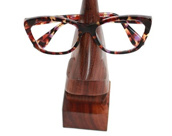 Wood Nose Eyeglass Holder - Glasses - Wooden Eye Glass Holder - Fair Trade