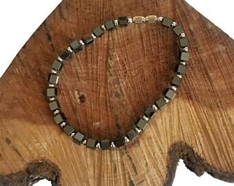 Hematite Cube Silver Bead Bracelet - Hematite Bead Bracelet - Hematite Bracelets - Gemstone Bracelets - Hematite - Beaded Bracelets