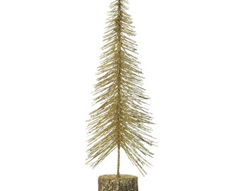 Medium Gold Glitter Bottlebrush Tree - Home Décor - Ornaments - Fair Trade