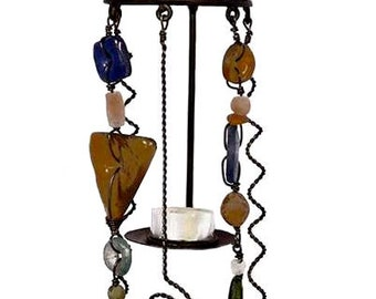 Iron and Recycled Glass Tealight Sconce - Home Décor -  Fair Trade - Candle Holders