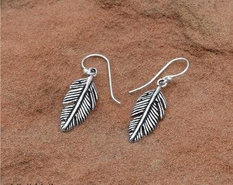 Oxidized Feather Earrings  - Drop Earrings - Bohemian Earrings - Sterling Earrings