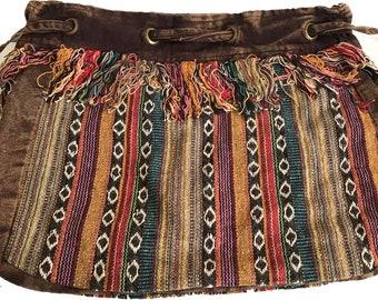 Striped Tibetan Drawstring Bag -  Fair Trade Bags - Bohemian Bag - Shoulder Bags