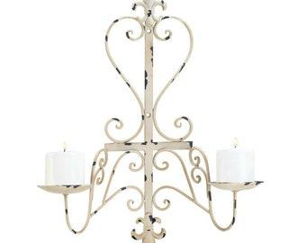 Antiqued Fleur De Lis Candle Wall Sconce - Wall Sconce - Candle holders - Sconces - Candles - Holders -  Home Decor  - Home Accessories