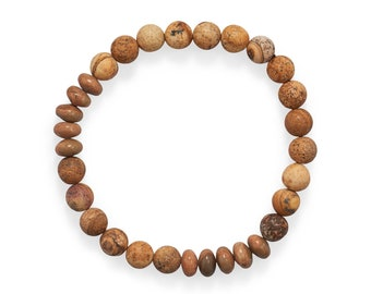 Men's Picture Jasper Stretch Bracelet -  Men's Beaded Bracelets - Men's BOHO Bracelets