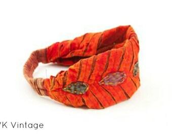 Orange Leave Headband - Headband - BOHO Headband - Hippie Headband - Wide Headband - Hair - Accessories - Fair Trade