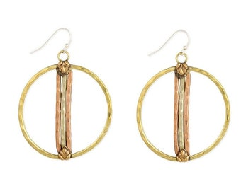 Mixed Metal Hammered Circle Earrings - Dangle Earrings - Ethnic Earrings - Bohemian Jewelry