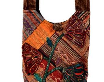 Floral Patchwork Crossbody Bag - Sling Bags - Fair Trade Bags - Bohemian Shoulder Bag