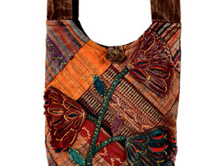 Featured listing image: Floral Patchwork Sling Bag -  Sling Bags - Cross body Bags - Purses - Fair Trade - Shoulder Bags - Bohemian Bags - Handbags