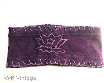 Purple Lotus Flower Wide Headband -  Bohemian Headbands - Fair Trade Headbands - Yoga Headbands