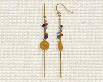 14 Karat Gold Disk Bead Earrings - Multi Stone Earrings - Bohemian Earrings - Dangle Earrings - Bohemian Jewelry