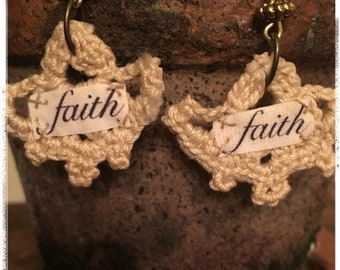FAITH Crochet Bohemian Earrings - Fabric Earrings - Word Earrings - Hippie Earrings