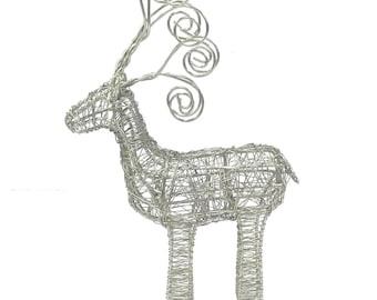 Wrapped Wire Reindeer - Home Décor - Reindeer Wire Sculpture - Fair Trade