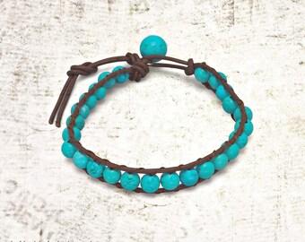 Magnesite & Leather Bead Bracelet - Bohemian Bracelets - Beaded Bracelet - Bohemian Jewelry