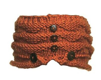 Dark Orange Wool Knit Headband with Wood Buttons -  Knit Headbands - Hand Knit Headband - Fair Trade