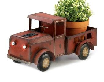 Red Truck Planter with Solar Lights - Planter - Truck Planter - Garden Decor - Patio Decor - Outdoor Decor - Planters - Rustic Planters