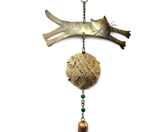 """Playful Cat Wind Chime 14""""l - Recycled Metal Chimes - Garden Decoration - Animal Wind Chime"""