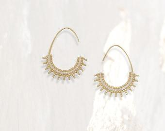 Beaded Wire 14 Karat CZ Earrings - Free Form Earrings - Bohemian Earrings - Gold Hoop Earrings - Bohemian Jewelry