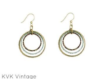 Mixed Metal Bullseye Round Dangle Earrings - Dangle Earrings - Boho Earrings -  Mixed Metal Earrings - Round Earrings - Bohemian Earrings