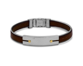 Men's Stainless Steel and Leather Bracelet - Men's Bracelet - Men's Stainless Steel Bracelet - Leather Bracelet - Men's Leather Bracelet