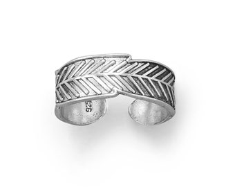 Feather Oxidized Sterling Toe Ring - Bohemian Toe Ring - Adjustable Toe Rings - Body Jewelry