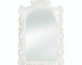 Grand White Distressed Wall Mirror - Ornate Mirror - Wall Mirror - Distressed Mirror - Heirloom Mirror - Mirrors - Home Decor