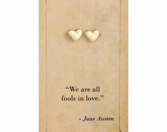 Literary Quote Heart Post Earrings - Jane Austen Quote - Book Earrings - Bookworm Earrings - Stud Earrings - Literary Jewelry