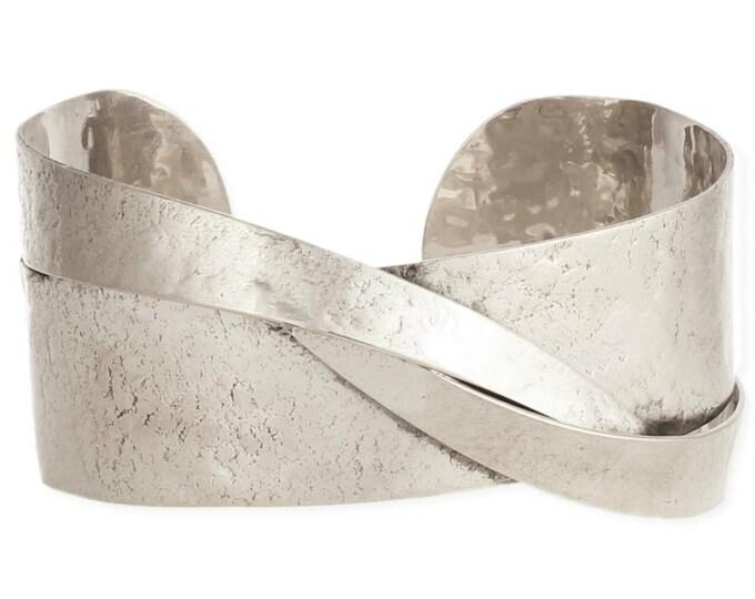 Featured listing image: Modern Art Sculptural Silver Cuff Bracelet - Boho Jewelry - Boho Bracelet - Silver Cuff - Cuff Bracelet - Hammered Bracelet