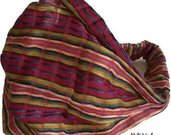 Guatemalan Pink Stripe Headband - Bohemian Headband - Boho Head Wrap - Fair Trade - Wide Headband - Hippie Headwrap