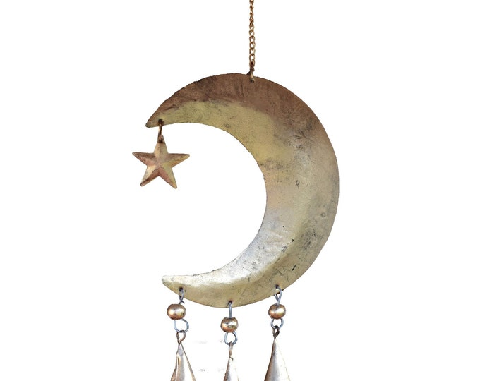 Featured listing image: Starry Night Chime - Wind Chimes - Chimes - Recycled Metal Chimes - Garden Decoration - Fair Trade -  Home Decor - Moon and Stars Chimes