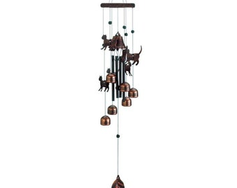 "Bronze Cats Wind Chimes 26"" - Wind Chimes - Chimes - Wind Chime - Garden Decoration - Outdoor Living -  Animal Wind chimes - Cat Wind chimes"