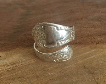Polished Floral Spoon Ring - Spoon Ring - Sterling Silver Spoon Ring - Polished Spoon Ring - Spoon Jewelry - Band Spoon Ring