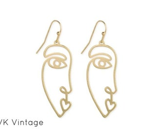 Modern Abstract Gold Face Earrings - Face Earrings - Abstract Earrings - Modern Earrings - Gold Face Earrings - Earrings - Modern Art