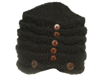 Black Wool Hand Knit Cap With Buttons - Knit Hats - Hats - Wool Hats - Wool Caps - Fall Hats - Winter Hats -  Skull Caps - Beanies