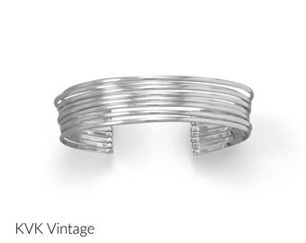 8 Row Sterling Cuff Bracelet - Cuff Bracelets - Silver Bracelet - BOHO Bracelet