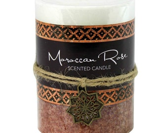 Moroccan Rose Pillar Candle -  Candle - Scented Candle - Pillar Candle - Rose Pillar Candle