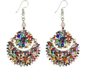 Rainbow Moon Flower Earrings - Earrings - Fair Trade - Dangle Earrings - Beaded Earrings - Seed Bead Earrings